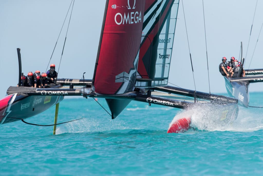 Emirates Team New Zealand sailing on Bermuda's Great Sound practice racing in the lead up to the 35th America's Cup. © Richard Hodder