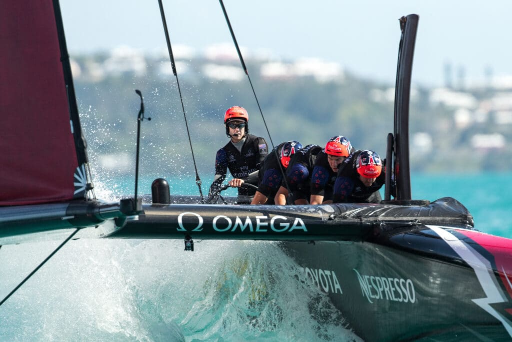 Emirates Team New Zealand sailing on Bermuda's Great Sound practice racing in the lead up to the 35th America's Cup. © Richard Hodder / Emirates Team New Zealand